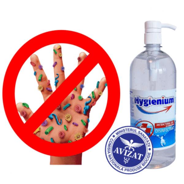 Hygienium Biocid Gel dezinfectant maini 1000 ml, avizat Ministerul Sanatatii, la oferta promotionala✅. Produse profesionale de igiena si dezinfectie✅.
