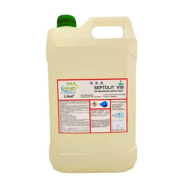 Septolit V50 Biocid Gel dezinfectant pentru maini, 5 L, la oferta promotionala✅. Produse profesionale de igiena si dezinfectie✅.