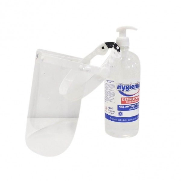 Pachet Hygienium Gel dezinfectant pentru maini 1000 ml, avizat Ministerul Sanatatii + Viziera protectie rabatabila, la oferta promotionala✅. Produse profesionale de igiena si dezinfectie✅.